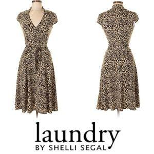 Laundry Shelli Segal Tie Front Animal Print Dress